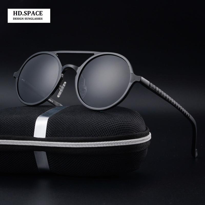 Augstas kvalitātes vīriešu alumīnija modes modes apaļie saulesbrilles vīriešiem