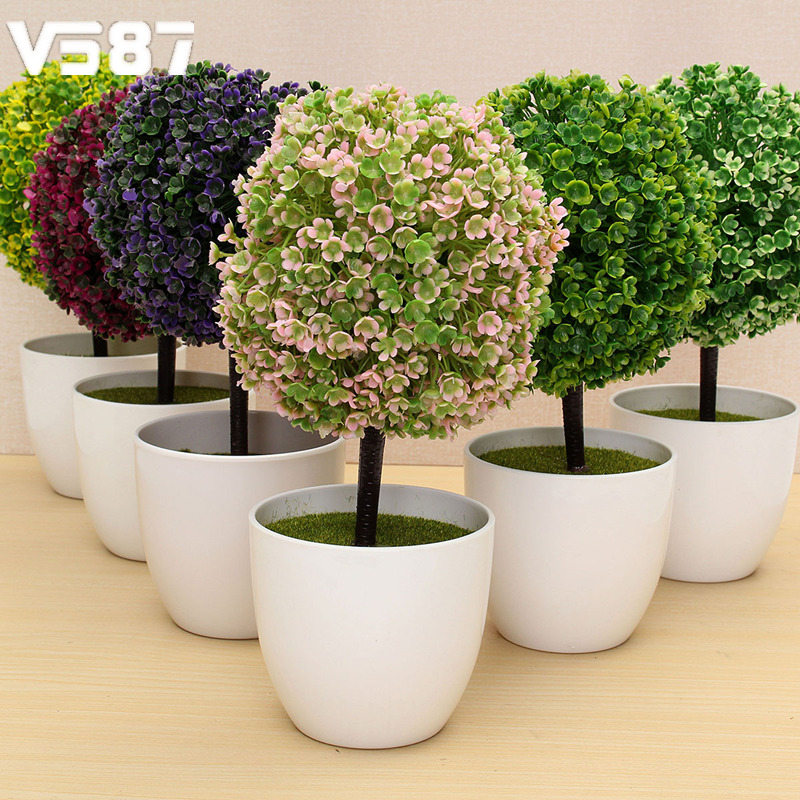 Fake Bonsai For Garden Home Mini Artificial Topiary Tree Ball Plant Flowers  Buxus Plants In Pot