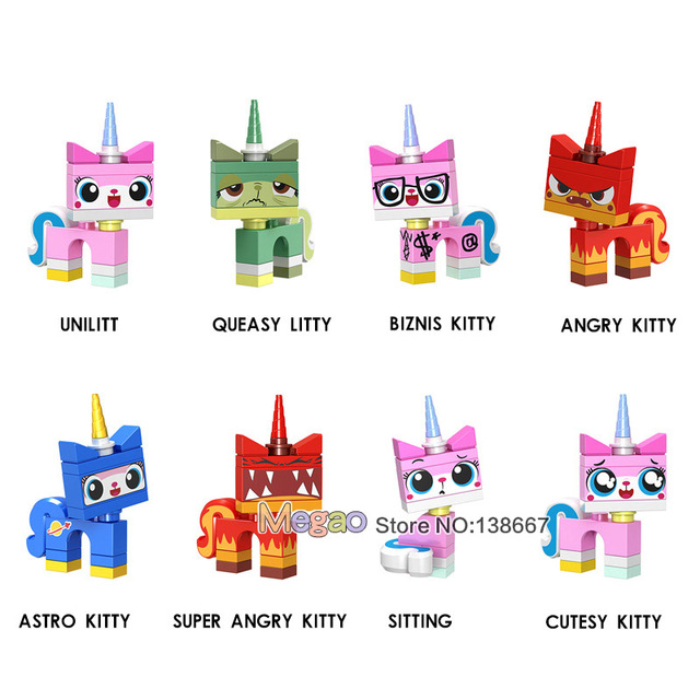 Single Dijual Blok Bangunan Kartun Lucu Uni Kitty Kucing Gambar Mual