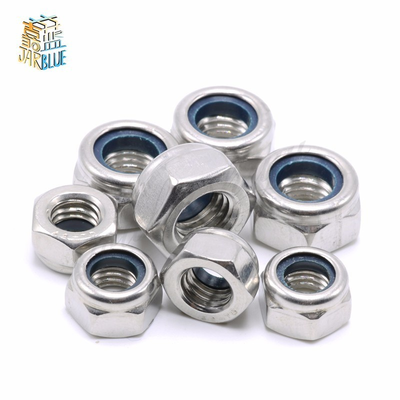 (20 pc/lot) A2 Stainless Steel 304 DIN985 Nylon Insert Lock Nuts/Nylon Tuercas M2,M2.5,M3,M4,M5,M6,M8,M10,M12 гайка самостопорная din985 m6 16шт