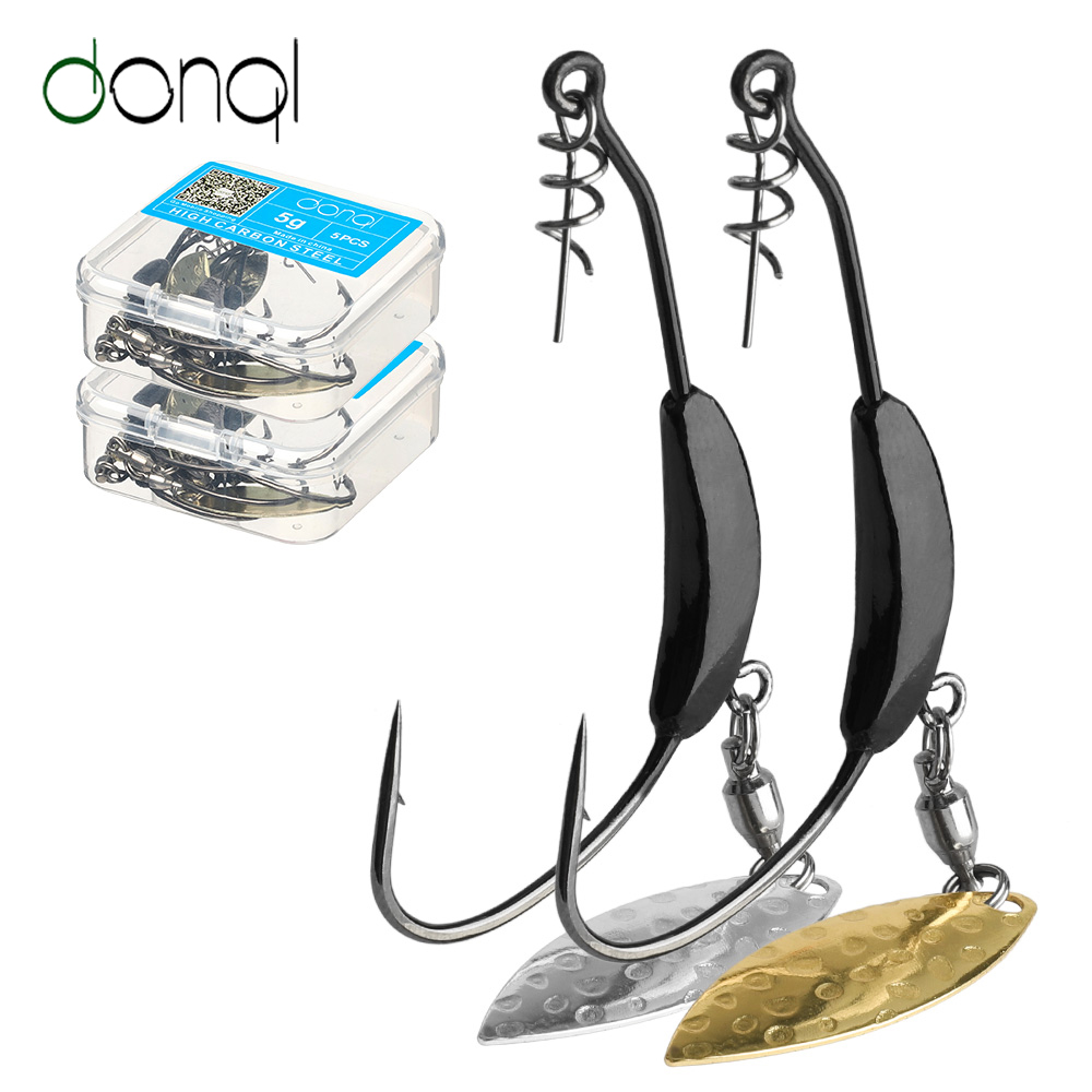DONQL 5pcs/Box Offset Fishing Hooks With Metal Spoon Sequins Add Lead Weight 2g-7g Wide Crank Fishhooks For Soft Lure Baits