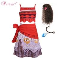 Pettigirl Kids Moana Adventure Costume Girls Dress Summer Clothes Princess Clothing Set Children Cosplay Dress upG DMCS0010 A176