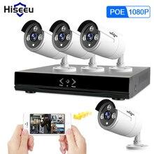Hiseeu 4CH 1080 P 48 В PoE NVR комплект системы видеонаблюдения 2MP открытый IP66 металла ip-камеры водонепроницаемый P2P дома комплект видеонаблюдения