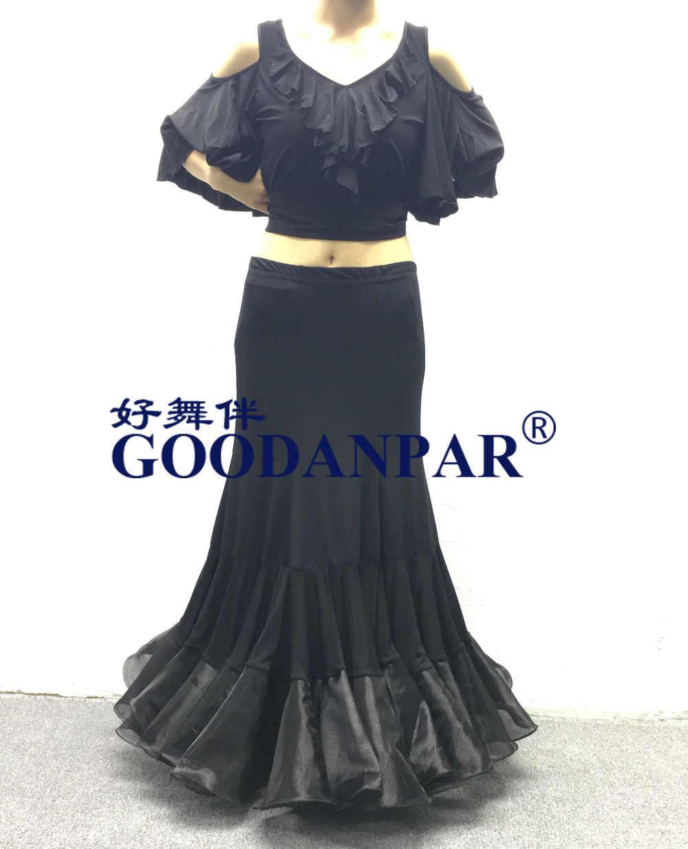 Для женщин девочек Бальные юбка для танцев длинные качели современные Стандартный Вальс Конкурс платье для танцев Танго юбки лайкра черный flamenc