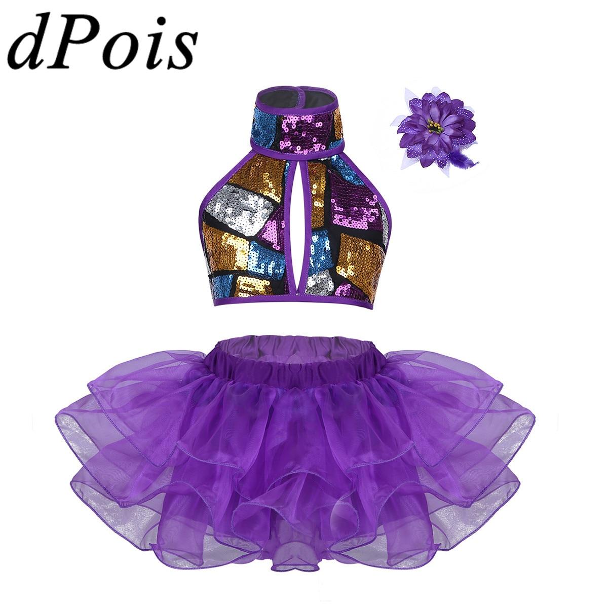 Girls Modern Jazz Hiphop Leotard Dance Costume Kids Crop Top Tutu Skirt Hair Clip Set Sequins Shiny Ballet Dress Girl Clothing hoodie