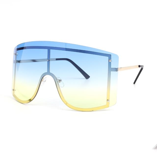 Fashion Oversized Blue Yellow Gradient Sunglasses Women 2019 Luxulry Brand Designer Red Rimless Metal Female Sun Glasses Shades 3
