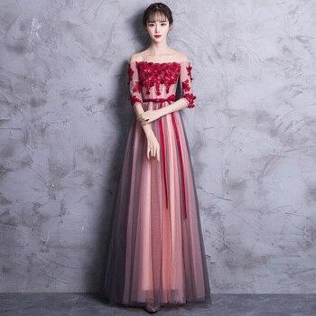 Slash Neck Red Maxi Evening Dresses Women Qipao Lace Formal Party Dresses Sexy Luxury Elegant Vestidos Appliques Cheongsam