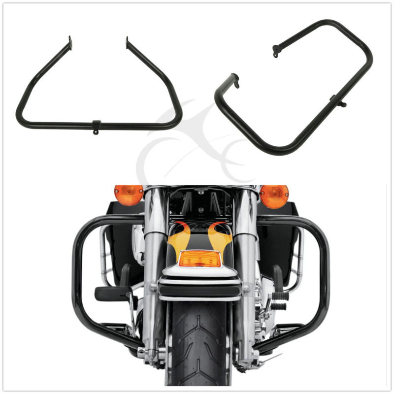 Highway Engine Guard Crash Bar For Harley Touring Road King Street Electra Glide Ultra Classic Tri Glide FLH 09-18 10  11 12 13 saddlebag lid rack top rail w light for harley touring ultra street electra glide 94 13