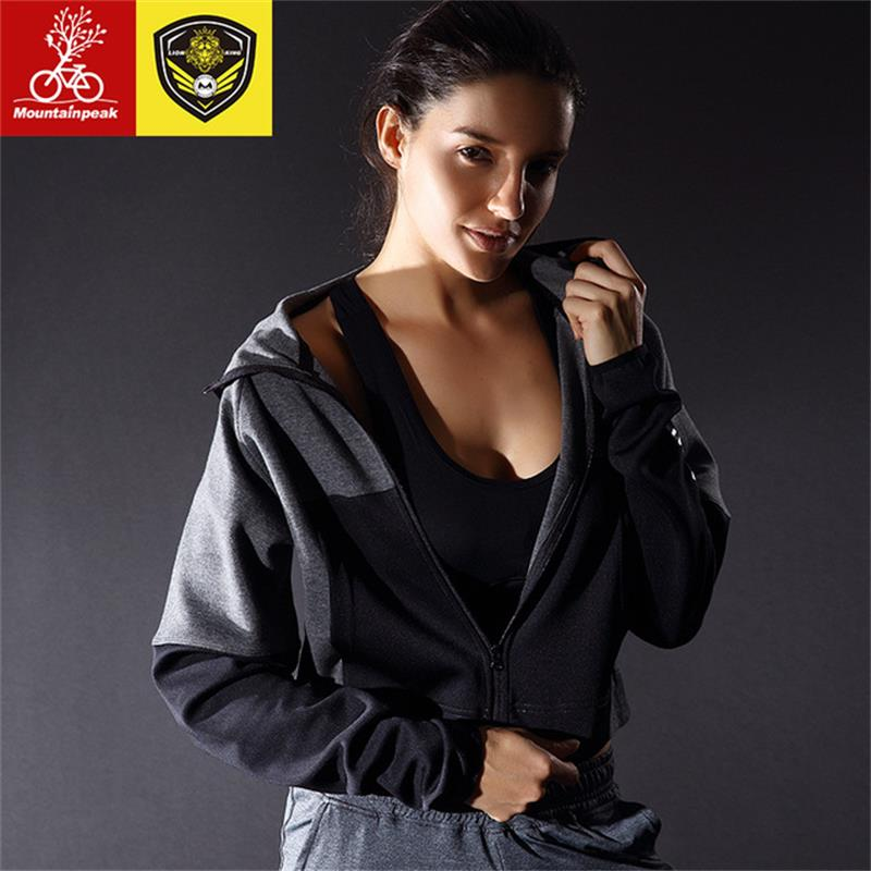 2018 New 2 Colors Women Running Jackets Female Fitness Yoga Sports Jackets Short Sweater Long sleeved Hooded Leisure Jackets