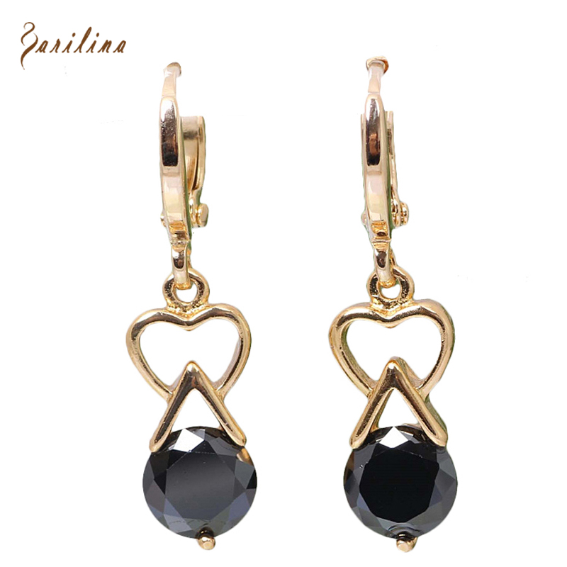 Graceful Drop Earrings gold Black Cubic Zirconia earrings fashion jewelry E024