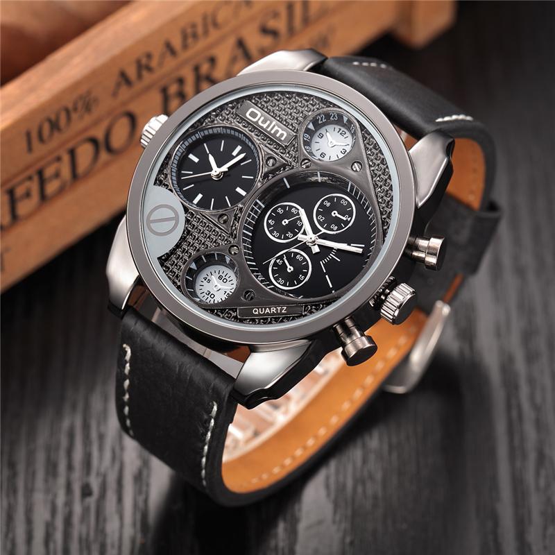 Prix pour Oulm Mens Designer Montres De Luxe Montre Casual Male Bracelet En Cuir Heures Petits Cadrans Décoration Horloge À Quartz reloj hombre