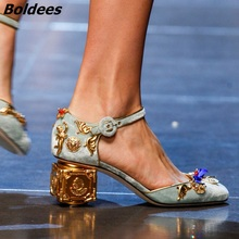 Fancy Buckle Style Light Blue Suede Strange Heel Shoes Elegant Metal Angle Flowers Crystal Decorated Pumps New Arrival