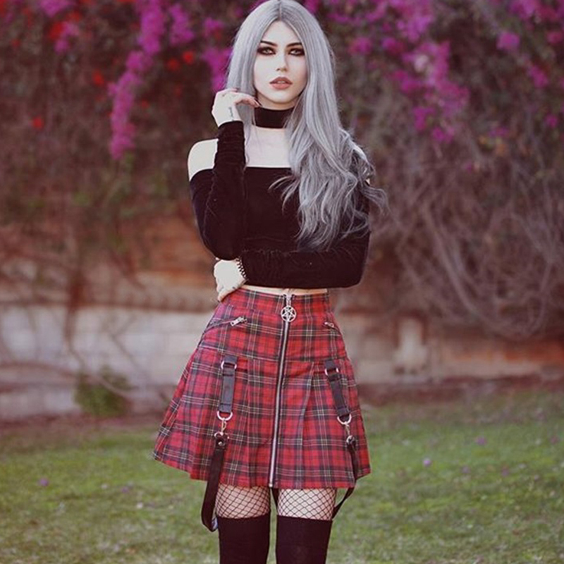 Fanco <font><b>Women</b></font> Autumn Zipper Pleated Plaid School Mini Skirt <font><b>Halloween</b></font> <font><b>Gothic</b></font> A Line Skirts Strap <font><b>Sexy</b></font> Solid Suspender Bottom image