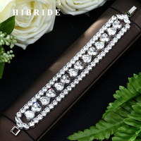 a7912b30b024 HIBRIDE Hot Sell Top Quality Cubic Zirconia Love Heart Shape Bracelet  Bangle For Women Crystal Bride