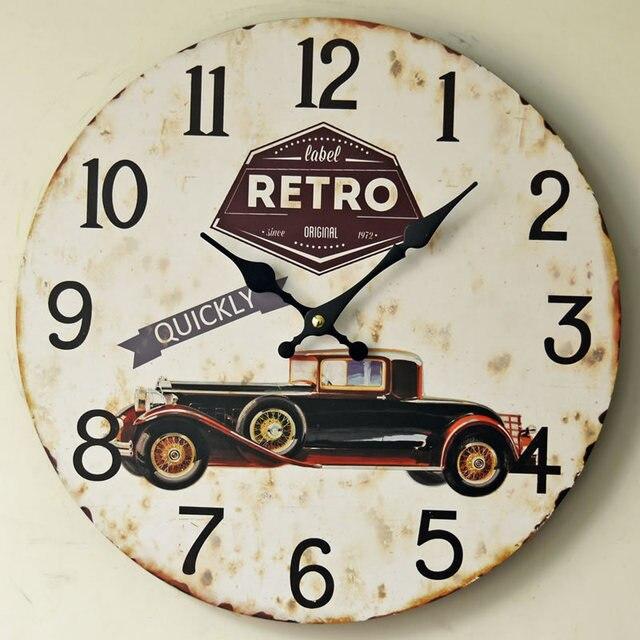 Etonnant New Arrival Retro Car QUICKLY Mute Wood Wall Clocks Nostalgic Home Decor  Mural Large Wall Clock