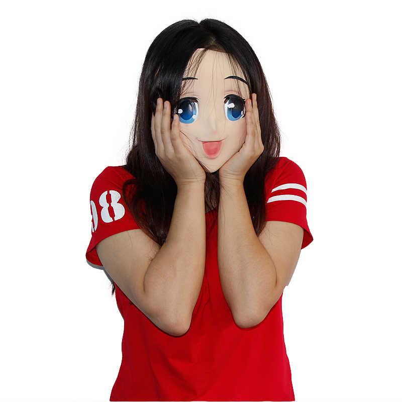 Da Menina do Anime Cosplay Máscara Crossdresser Latex Adulto Azul Olhos Bonitos Dos Desenhos Animados Anime Fêmea Face Masken Frete Grátis