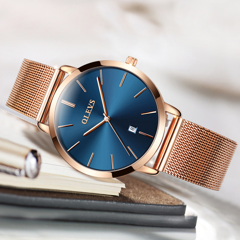 OLEVS Ultra thin Ladies Watch Luxury Women Watches Waterproof Rose Gold Steel Quartz Date Wrist Watch montre femme Clock relogio sinobi ceramic watch women watches luxury women s watches week date ladies watch clock montre femme relogio feminino reloj mujer