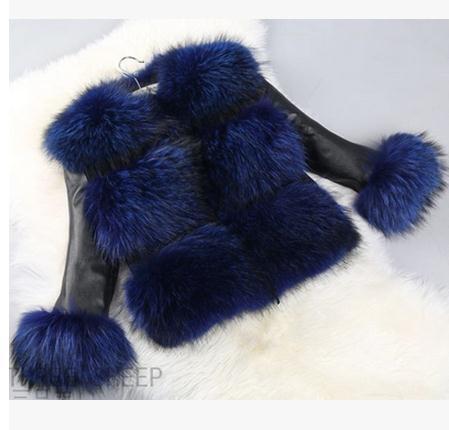 S/3Xl Womens Short Section Imitation Fox Fur Coat Raccoon Fur Leather Jacket Slim Female Casual Large Size Faux Fur Coats J1636