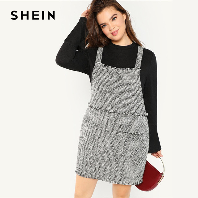 ce1ff574187f3 US $26.67 |SHEIN Plus Size Straps Sleeveless Frayed Trim Women Straight  Tweed Pinafore Dress 2018 Preppy Style Knee Length Autumn Dress-in Dresses  ...
