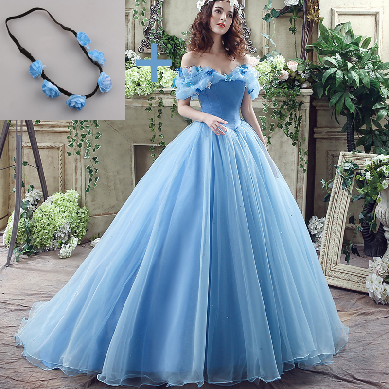 Deluxe Assepoester Bruidsjurk Blauwe Bruidsjurk Off the Shoulder Cap Sleeves gewaad de Marry Halloween Costume with Garland 2017