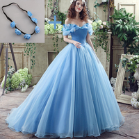 Deluxe Cinderella Wedding Dress Blue Bridal Gown Off The Shoulder Cap Sleeves robe de Marry Halloween Costume with Garland 2017