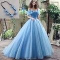 Mujeres Nueva Película Deluxe Cenicienta Cenicienta vestido de Novia robe de mariee Vestido de Novia Azul Del Traje de Halloween con Guirnalda 26240