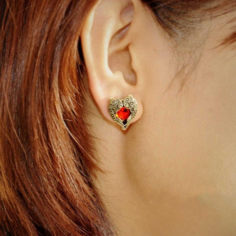 Livraison gratuite en gros bijoux mode Vintage rétro Bronze or ange aile rouge gemme boucles d'oreilles pour les femmes e0117