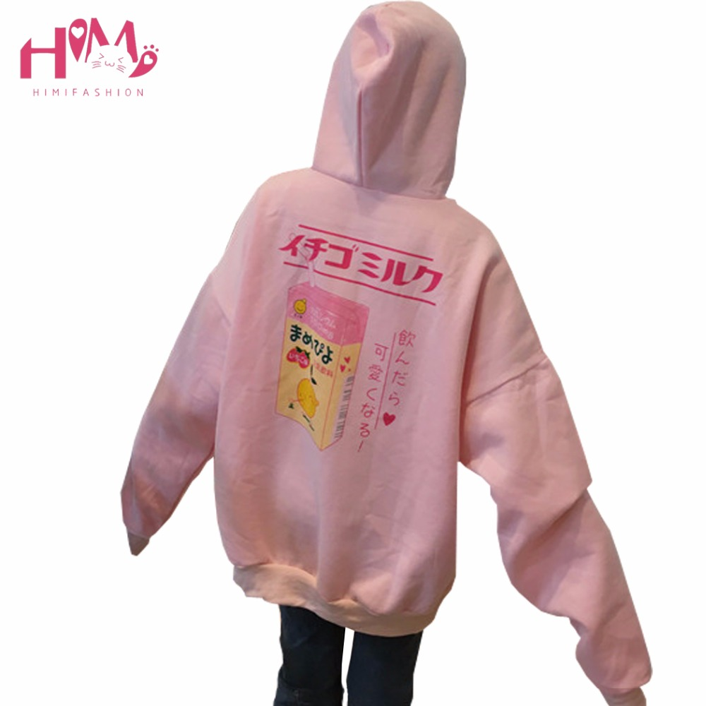 Winter Girls Pink Hoodie Lovely And Sweet Cartoon Loose Cashmere Hoodie Coat With Thickened