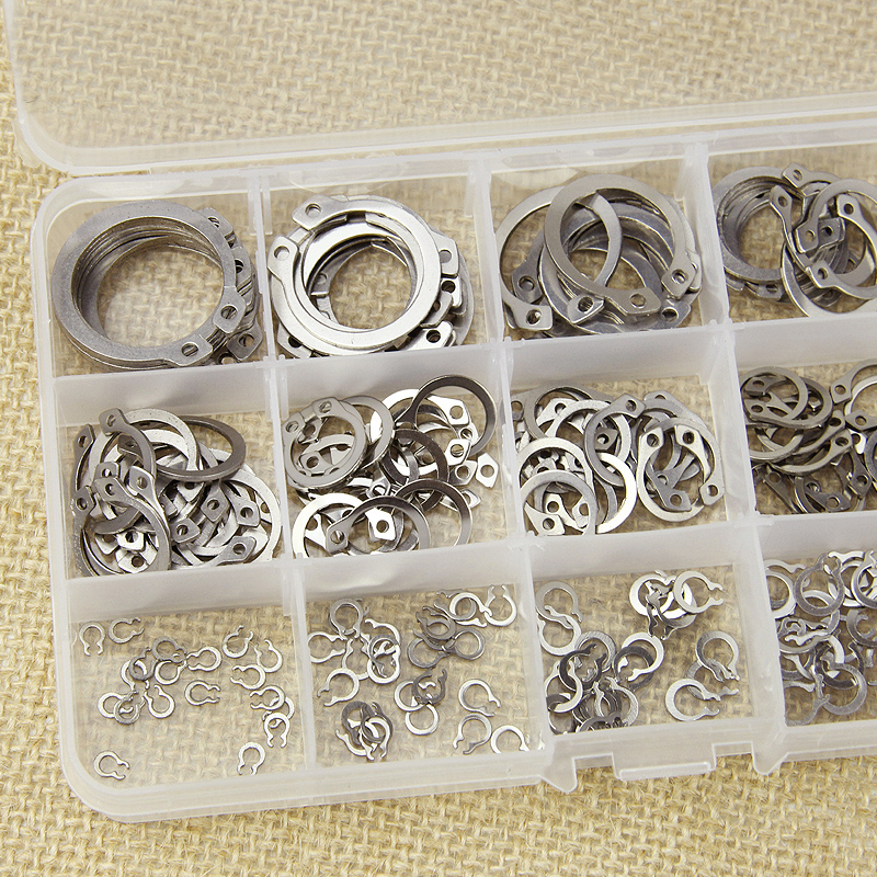 цена 304 Stainless Steel Axle Jump Ring Set Bead Flange Spring Washer C Shape Snap Ring Outside Callipers 1packing