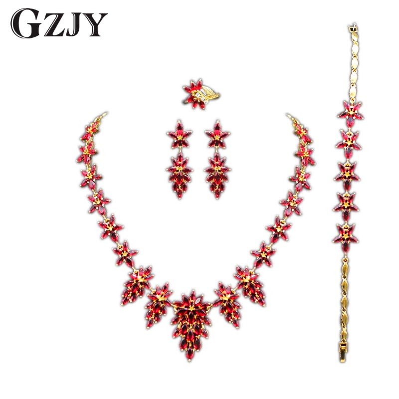 GZJY Gorgeous Wedding Jewelry Sets Necklace Ring Bracelet Earring Colorful Zircon Gold Color Bridal Jewelry For Women 9colors gorgeous faux crystal oval bracelet with ring for women