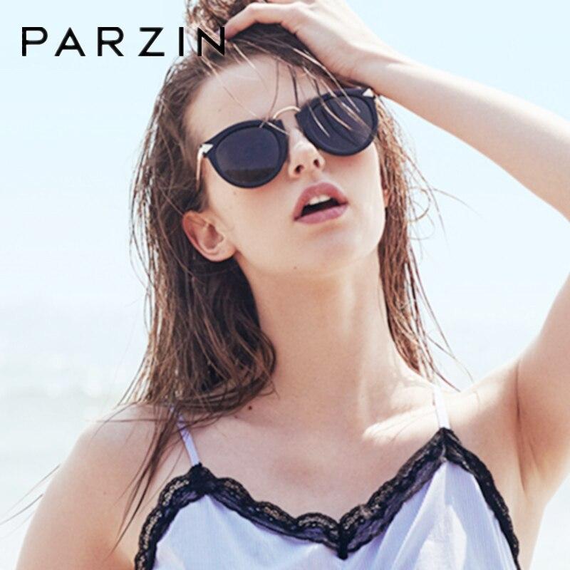 PARZIN Occhiali Da Sole Polarizzati Occhiali Da Sole Donne Vintage Occhio di Gatto di Guida Femminile Occhiali Da Sole Eleganti Signore Shades Nero Con Il Caso P9231