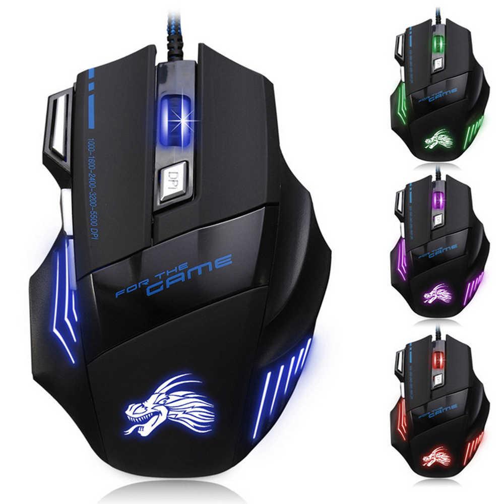 5500 DPI przewodowa mysz dla graczy z USB 7 przyciski regulowany Optical Gamer Mouse z oddychaniem światło dla biura laptopa/PC