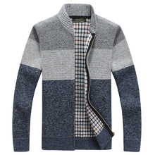 Winter Merino Wool Sweaters Men Big Size 3XL Mens Warm Hand Knit Zipper Cardigan-male Solid Casual Clothing Jacket 8812
