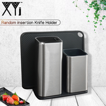 XYJ Multifunctional 6&8 inch Holder For Kitchen Knife High Grade Stainless Steel Cooking Stand Block Sliver Tools