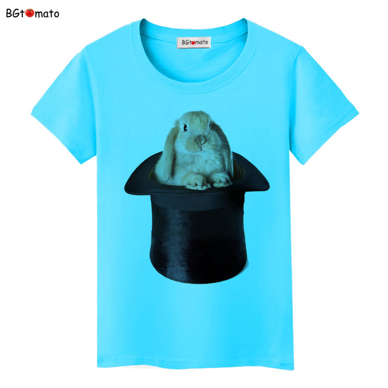 BGtomato Magique Chapeau Lapin t chemises pour femmes Mode personnalité  créatrice belle chemises Marque Bonne qualité casual tops t-shirts e92e0260db5