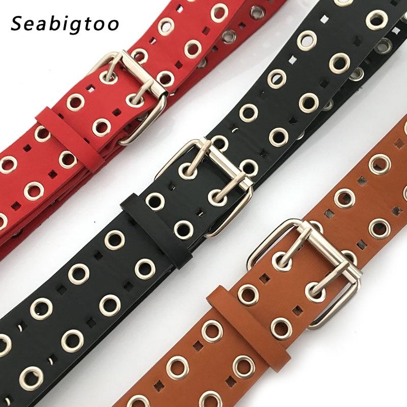 Black Punk rock belts PU leather Belts male female with Double Pin Buckle Belts Waist belts for women mens jeans Rivet Straps