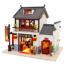 M901 Chinese Style Building Miniature Diy Doll House Wooden Handmade Dollhouses Furniture Kit Toys Gifts