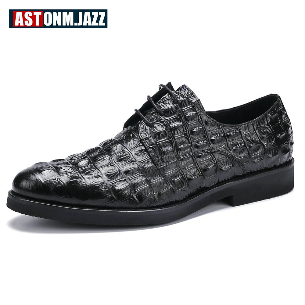 Men's Casual Genuine Leather Crocodile Oxfords Shoes Wedding Shoes For Mens Brogues Shoes Gentleman Business Shoe Dress Moccasin top quality crocodile grain black oxfords mens dress shoes genuine leather business shoes mens formal wedding shoes