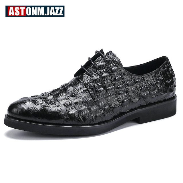 229a92f3d10 Men s Casual Genuine Leather Crocodile Oxfords Shoes Wedding Shoes For Mens  Brogues Shoes Gentleman Business Shoe Dress Moccasin