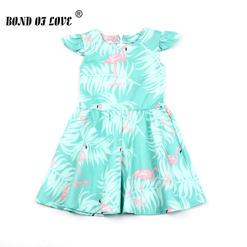 Kids Girls Sleeveless Dresses Summer Flamingo Leaves Printed Dresses For Children's Costume Girls Wedding Birthday Party Dresses image