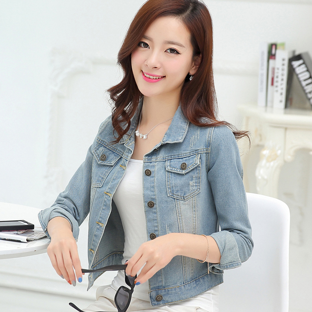 2017 High Quality Women's Casual Jeans Jackets and Coats Female Vintage Denim Jacket Women