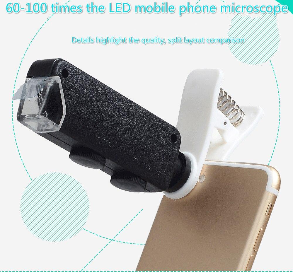Portable Microscope 100x Haute Puissance Loupe LED Lumière Violet Vérifier L'argent Bijoux Identification Optique Mobile Lentille de Téléphone