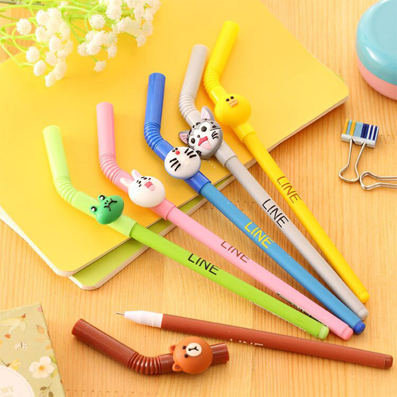MEIKENG Creative Cartoon Straws Gel Pen Kawaii School Stationery Office  Supplies 0.5 MM 12 Pcs/LOT сони плейстейшен 2 дзержинск
