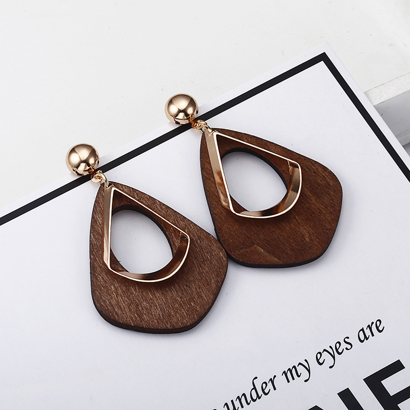 2019 Fashion Statement Earrings Wooden Hollow Earrings For Women Water Drop Party Wedding Wholesale Jewelry Red Black Brown