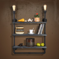 2016 Novelty Fashion American Loft Vintage Solid Wood Bookshelf Wall Lamp Industrial Iron E27 Edison Wall Lamp For Bar