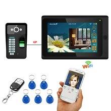 7 polegadas Com Fio/Sem Fio Wifi Fingerprint RFID Senha 1000TVL CÂMERA de Vídeo Porta Telefone Campainha Intercom Com Fio Câmera APP desbloquear Registro