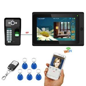 Image 1 - 7インチ有線/ワイヤレスwifi指紋rfidパスワードビデオドア電話ドアベルインターホン1000tvl有線カメラappロックを解除レコード