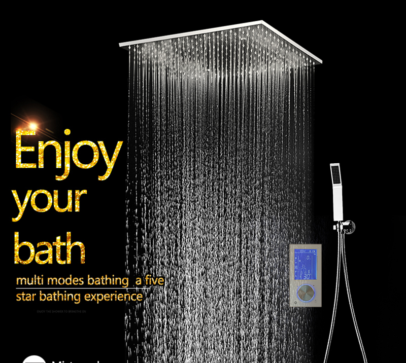 3Jets Intelligent Digital LCD Display Rain Shower Set Installed in Wall 20 SPA Mist Rainfall Thermostatic Touch Panel Shower (4)