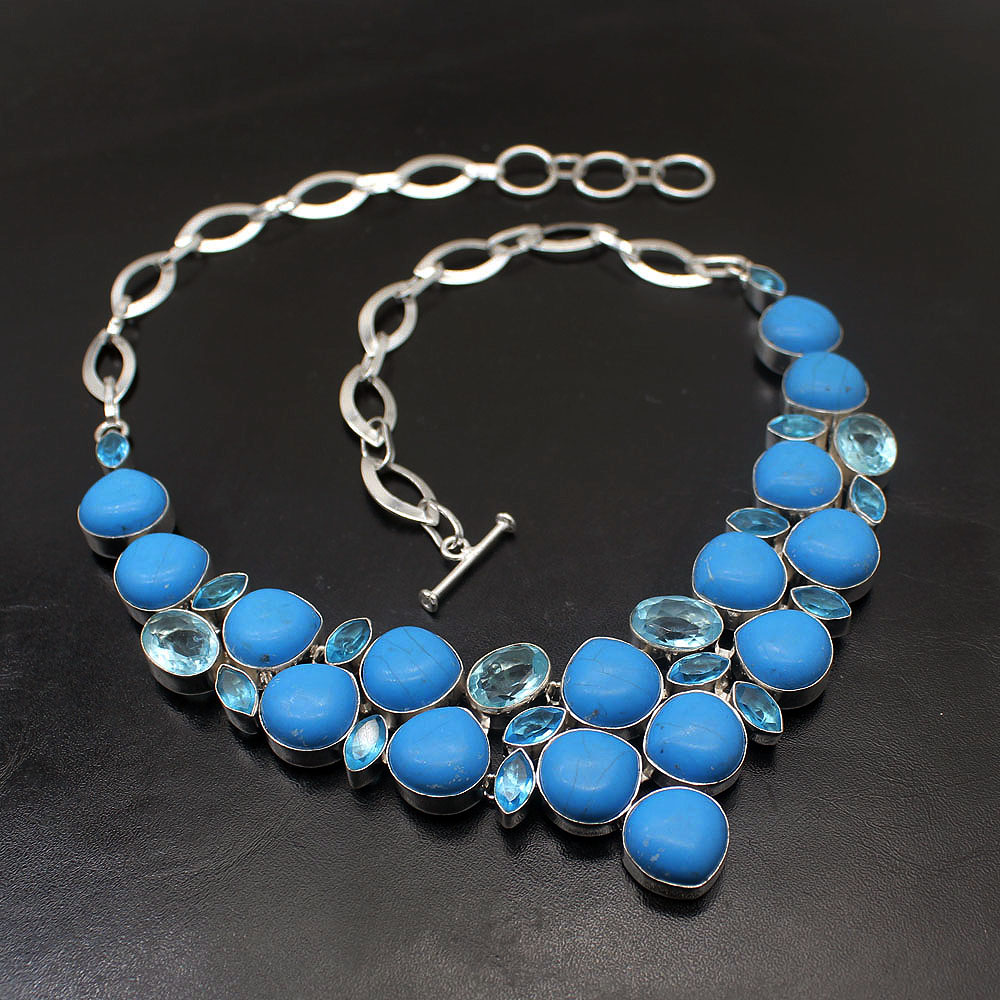 Hermosa Gift Natural Unique Ocean BlueTopaz Jasper925 Sterling Silver Big Necklace Choker Necklaces 17.5 Inch Free Shipping