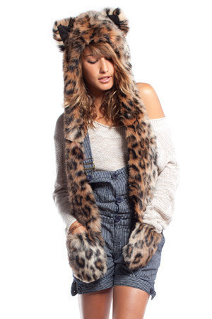 2016 new snow leopard  animal faux fur cap hat hoods
